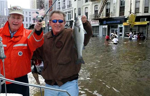 George Bush fishing in New Orleans