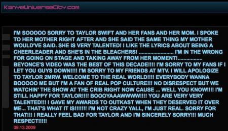 Kanye West apology